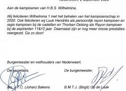 Brief gemeente t.a.v. kampioenen. - HBS Wilhelmina Ospel