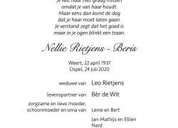 Overlijdensbericht Nellie Rietjens - Beris - HBS Wilhelmina Ospel