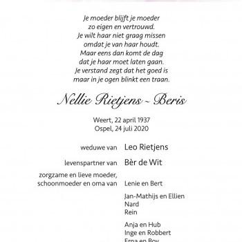 Overlijden Nellie Rietjens-Beris - HBS Wilhelmina Ospel