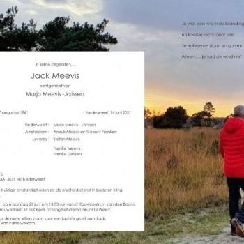 Overlijdensbericht Jack Meevis artikel